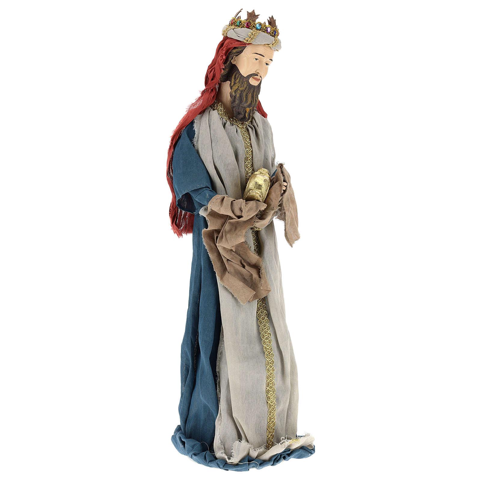 Reyes Magos 85 cm resina y tela estilo country 3