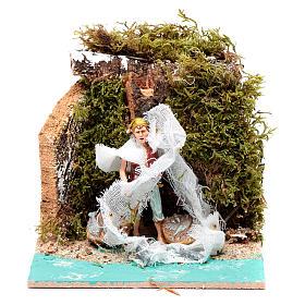 Presépio Moranduzzo: Pescador com rede 10 cm movimento Moranduzzo