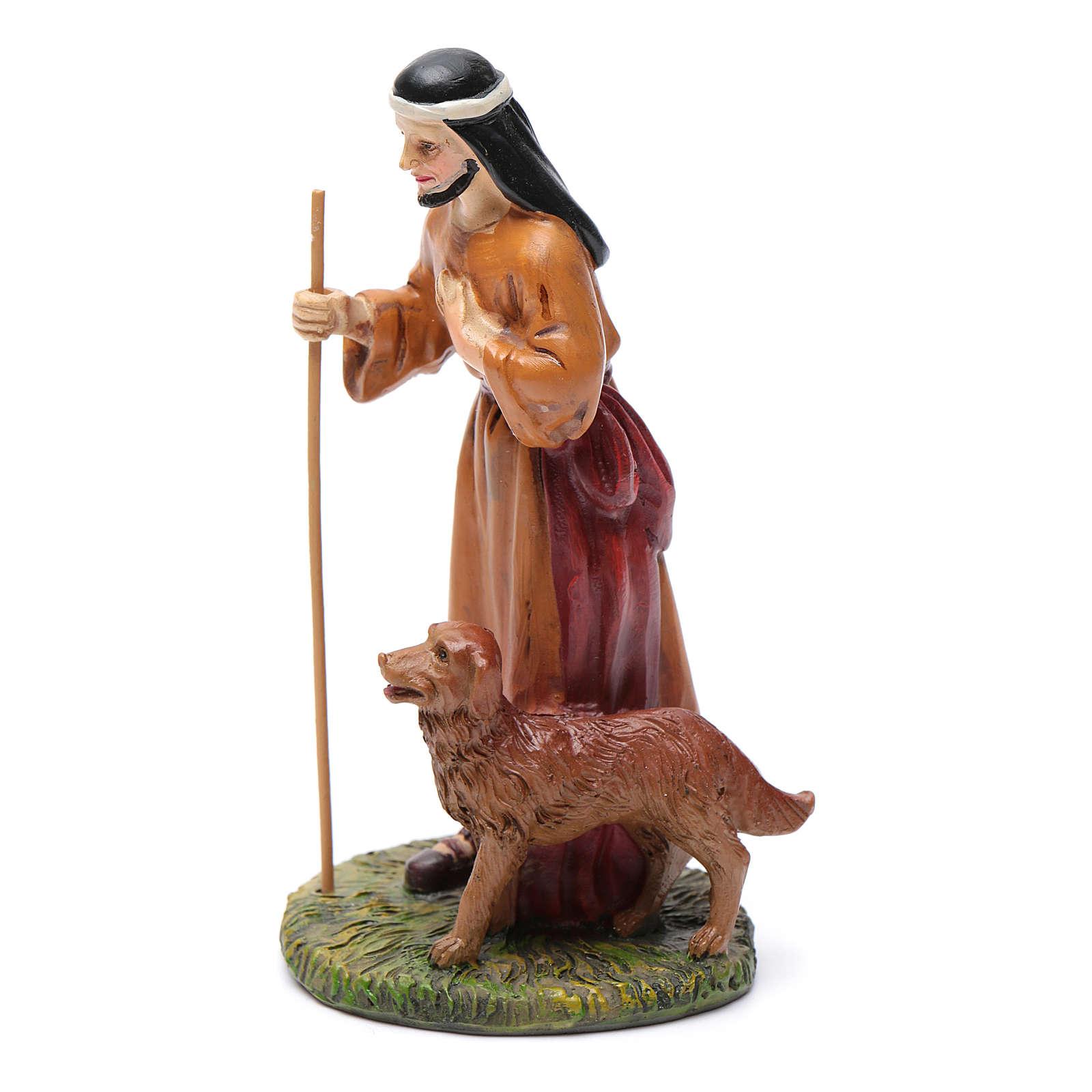 Pastore con cane resina presepe 12 cm Linea Martino Landi 3