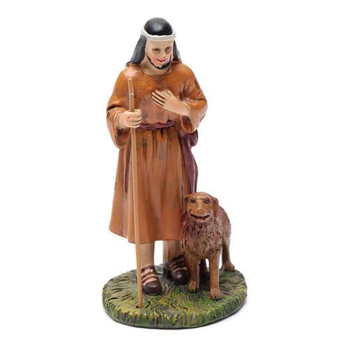 Pastore con cane resina presepe 12 cm Linea Martino Landi 1