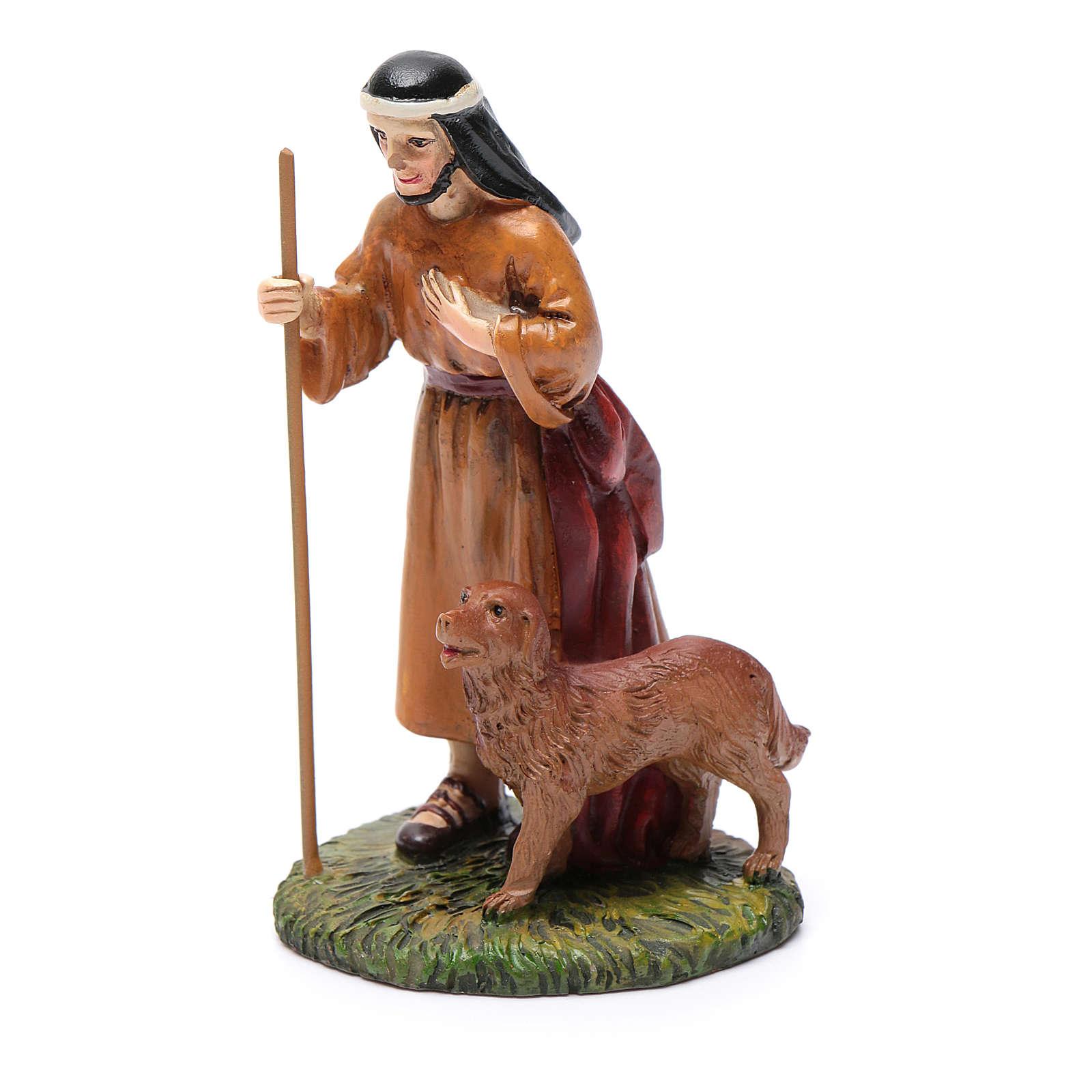 Pastore con cane resina per presepe 10 cm Linea Martino Landi 3