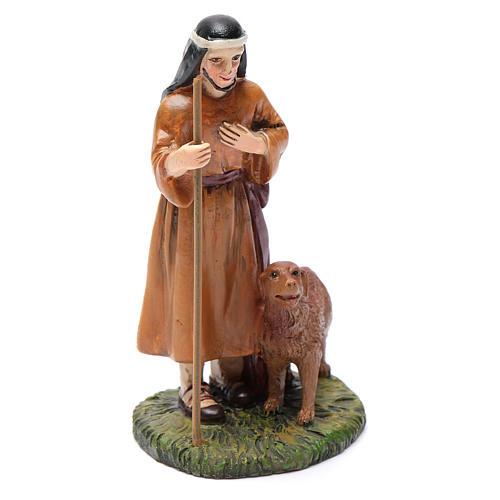 Pastore con cane resina per presepe 10 cm Linea Martino Landi 1