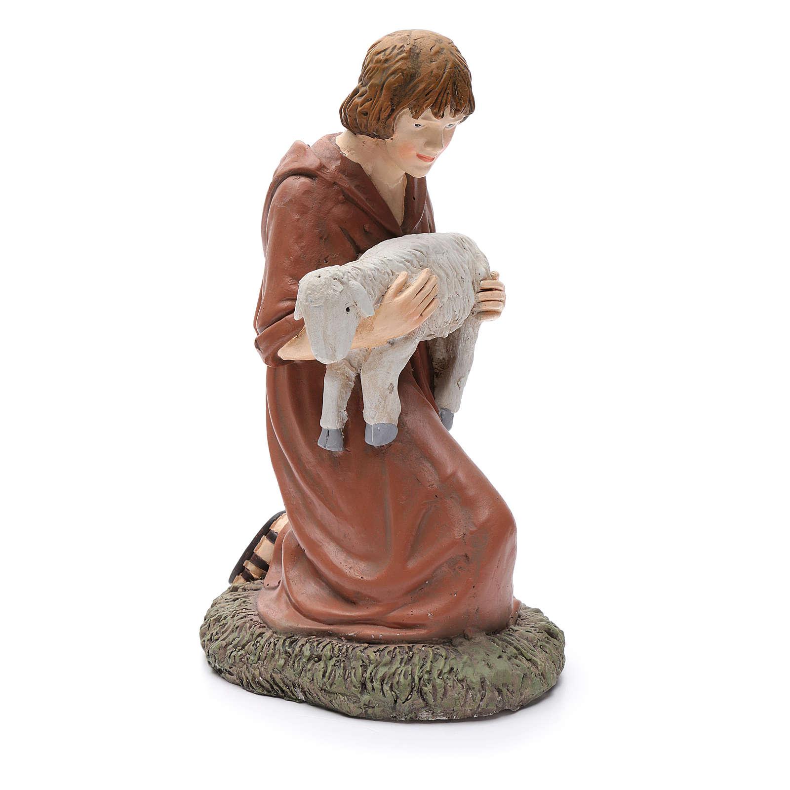 Statua pastore in ginocchio Martino Landi per presepe 50 cm 3