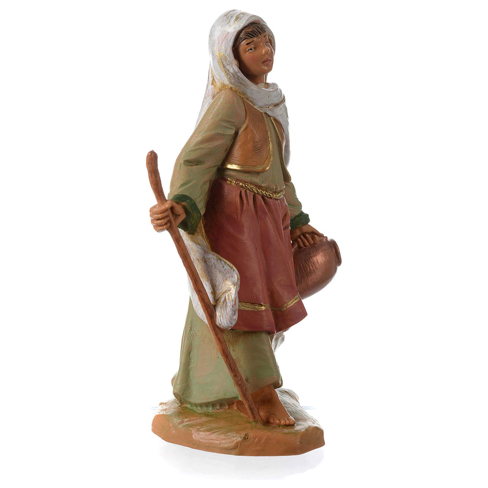 Chica con bastón y ánfora 12 cm Fontanini 4