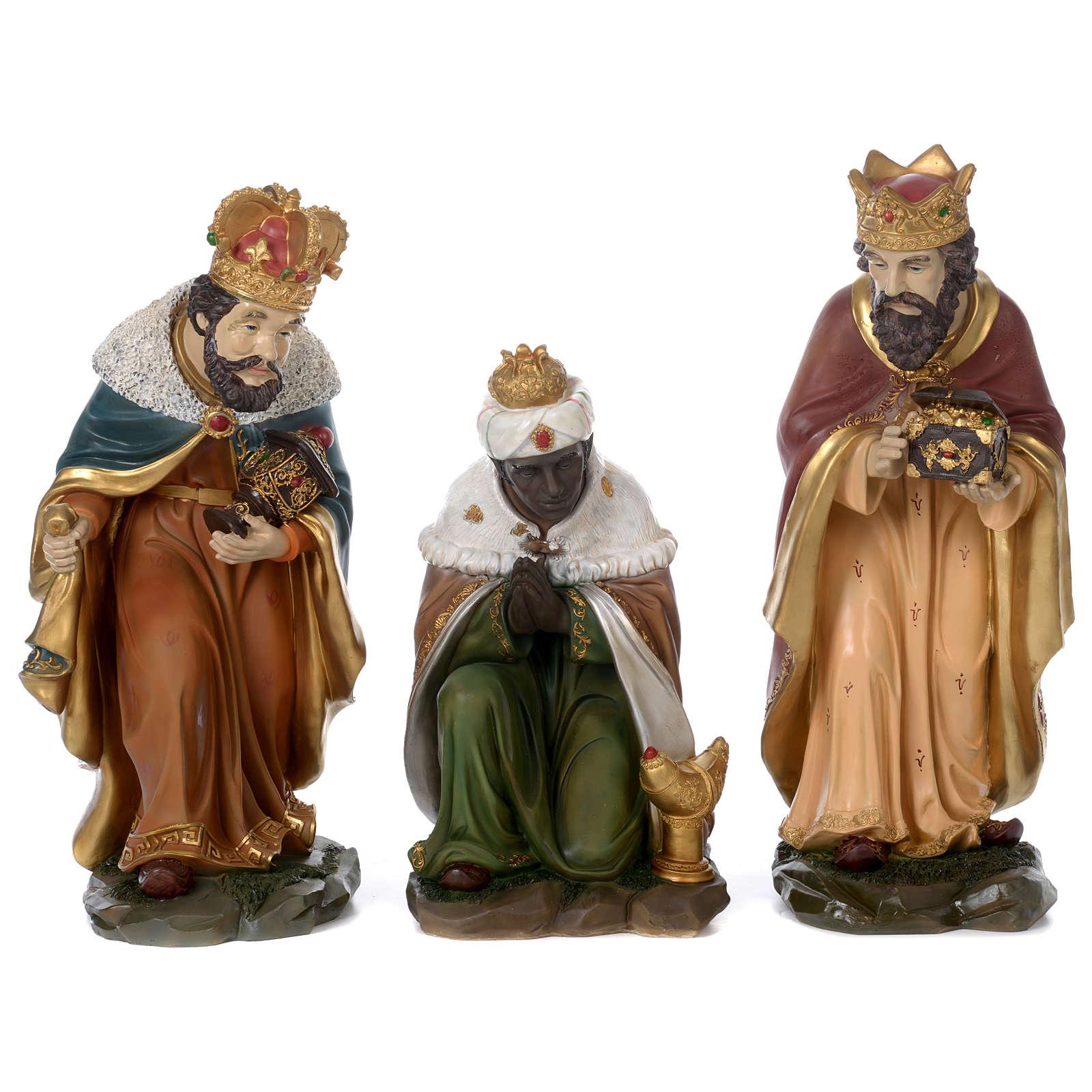 Tre Re Magi resina presepe 60 cm 3