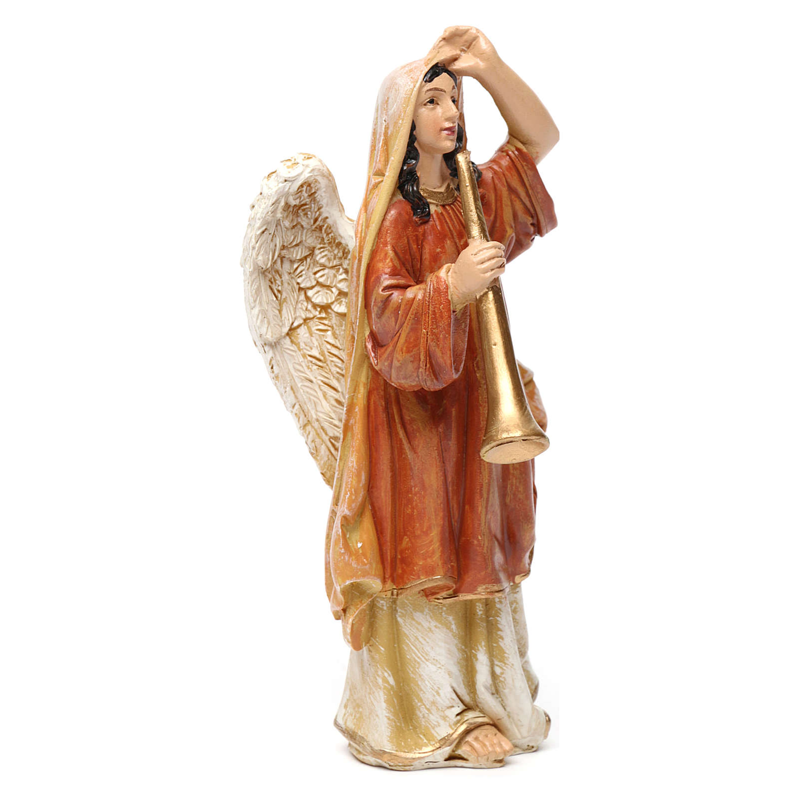 Angeli con strumenti in resina 3 pz per presepe da 13 cm  3