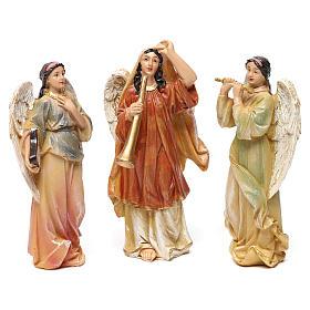 Angeli con strumenti in resina 3 pz per presepe da 13 cm  s1