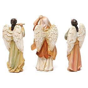 Angeli con strumenti in resina 3 pz per presepe da 13 cm  s3