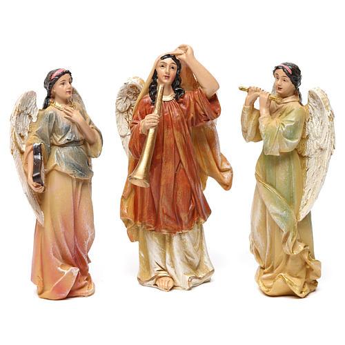 Angeli con strumenti in resina 3 pz per presepe da 13 cm  1