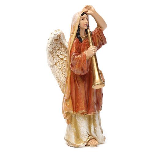 Angeli con strumenti in resina 3 pz per presepe da 13 cm  2