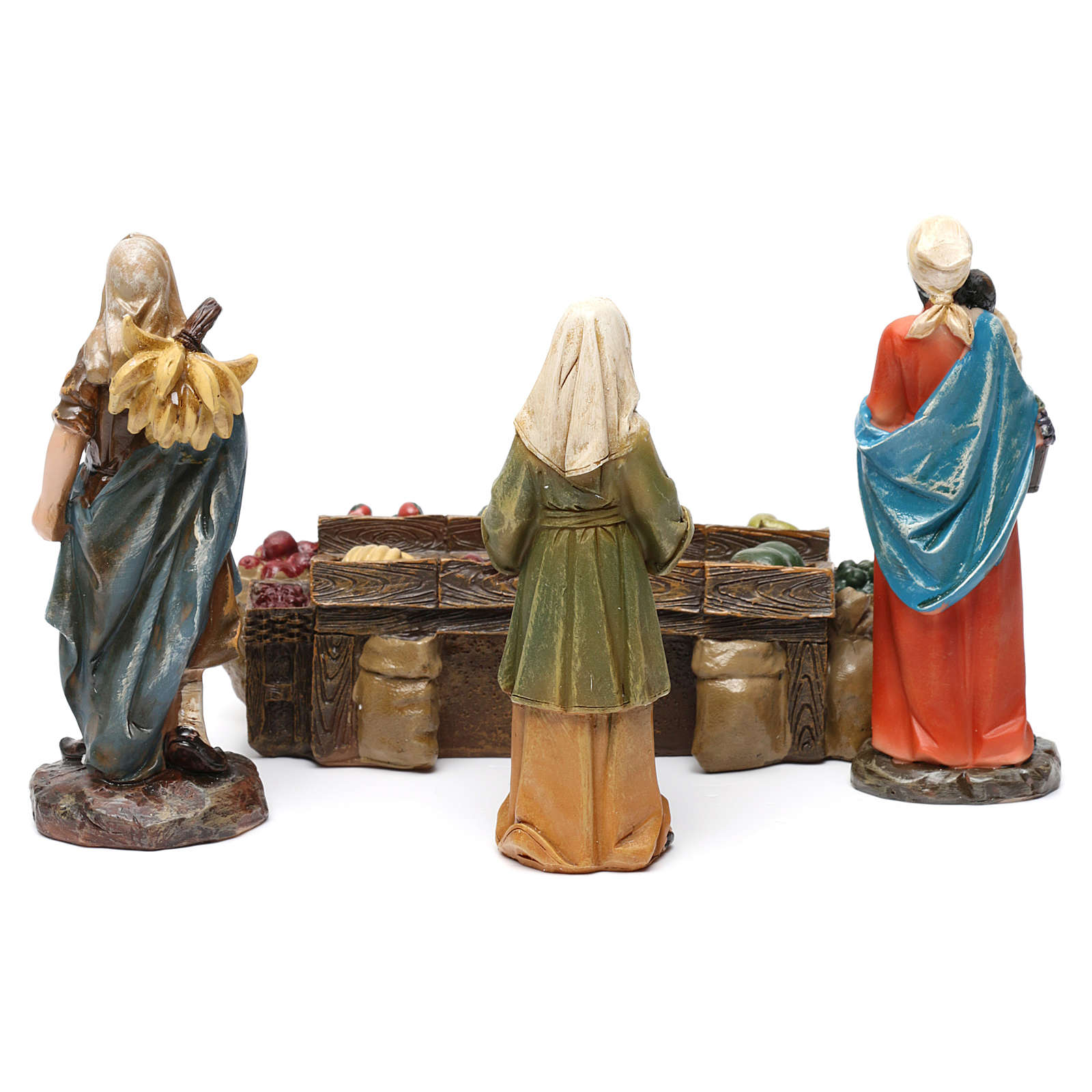 Fruiterers in resin with fruit stand (3 pieces) for Nativity Scene 13 cm 3
