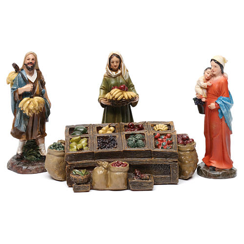 Fruiterers in resin with fruit stand (3 pieces) for Nativity Scene 13 cm 1