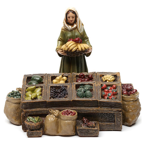 Fruiterers in resin with fruit stand (3 pieces) for Nativity Scene 13 cm 2