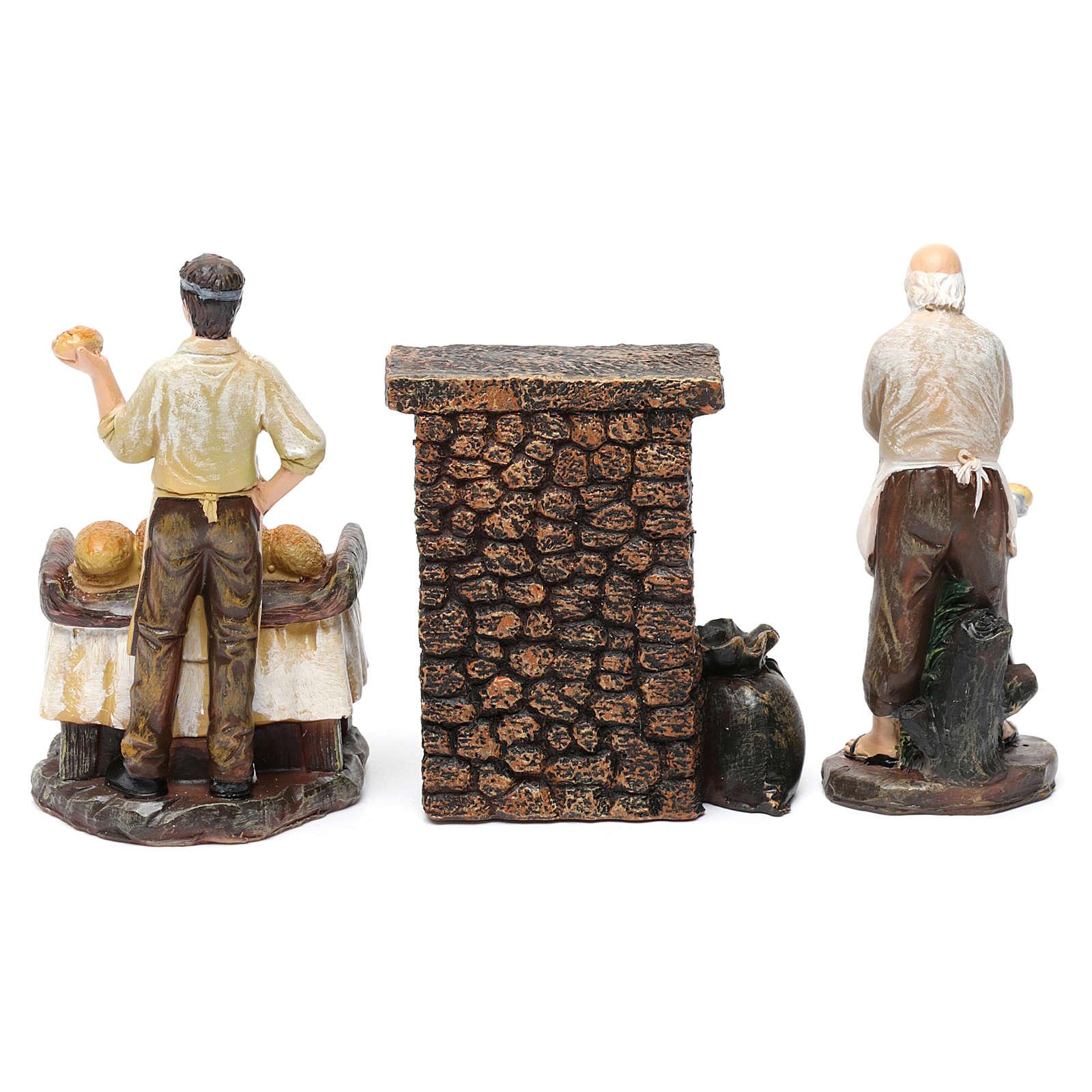 Estatuas panaderos 2 piezas con horno de resina para belén de 13 cm de altura media 3