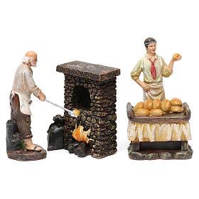 Statue panettieri 2 pz con forno in resina per presepe da 13 cm s1