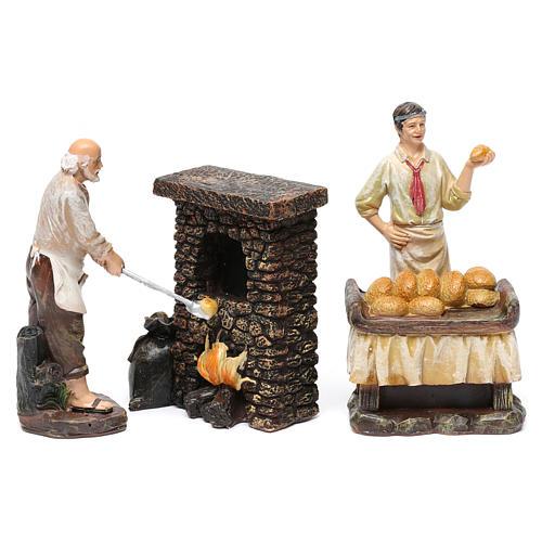 Statue panettieri 2 pz con forno in resina per presepe da 13 cm 1