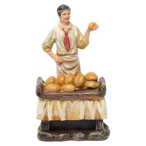 Statue panettieri 2 pz con forno in resina per presepe da 13 cm 2