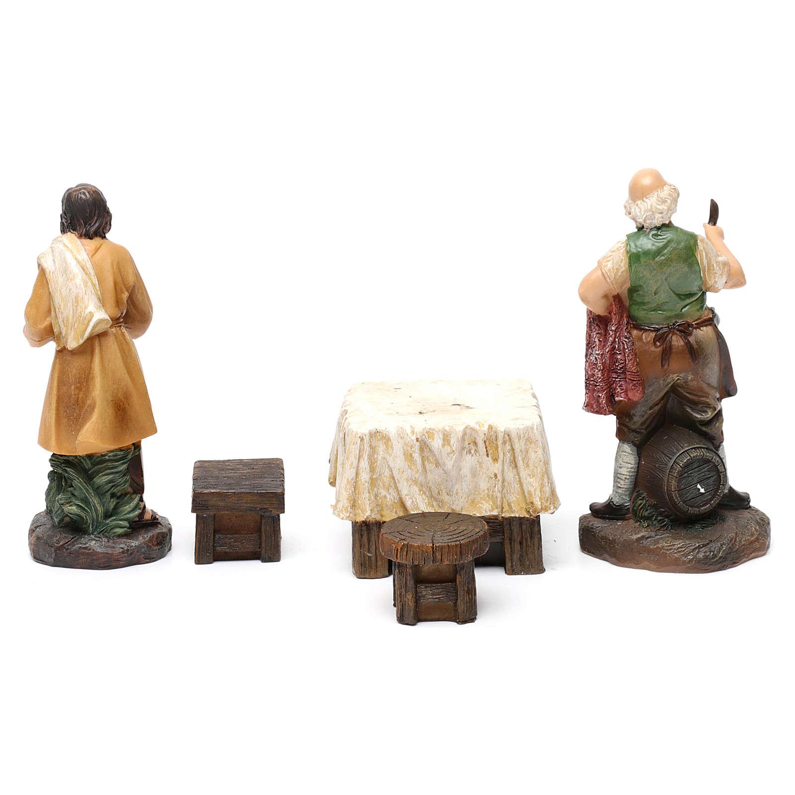 Pastores taberna con mesa resina 2 piezas para belén de 13 cm de altura media 3