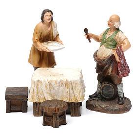 Pastores taberna con mesa resina 2 piezas para belén de 13 cm de altura media s1