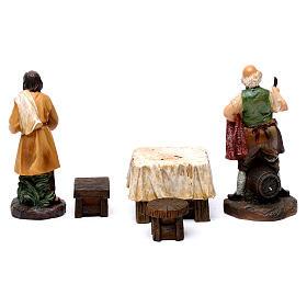 Pastores taberna con mesa resina 2 piezas para belén de 13 cm de altura media s6