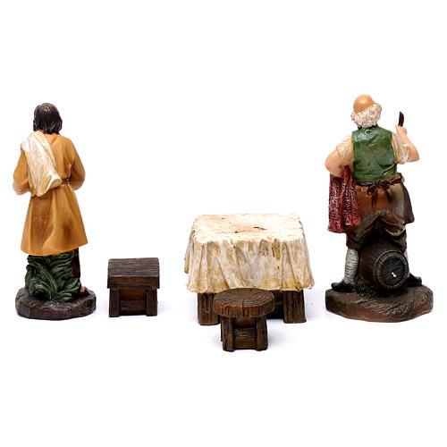 Pastores taberna con mesa resina 2 piezas para belén de 13 cm de altura media 6