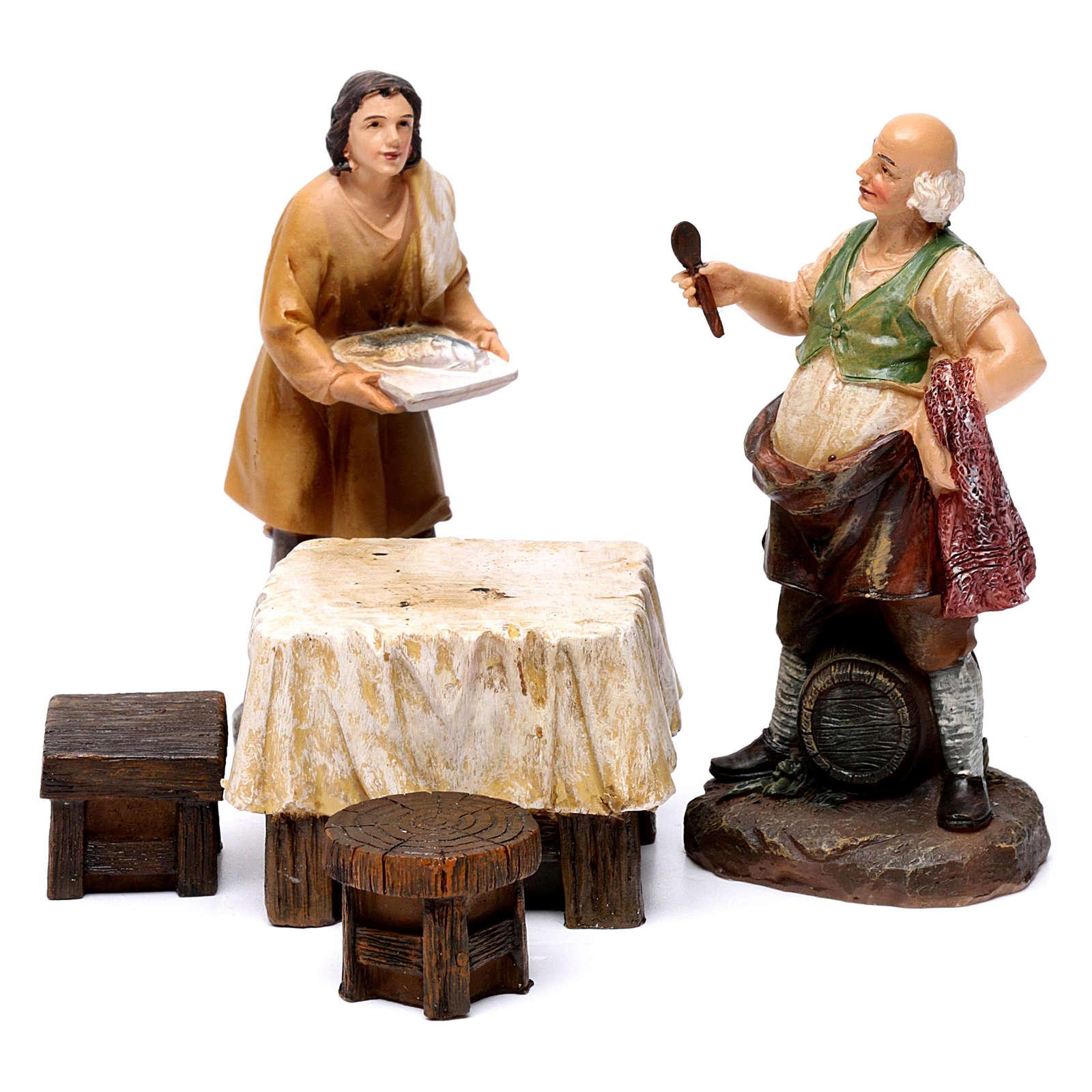 Pastori osteria con tavolo resina 2 pz per presepe 13 cm 3