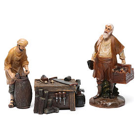 Woodworkers in resin with stand (2 pieces) for Nativity Scene 13 cm s1
