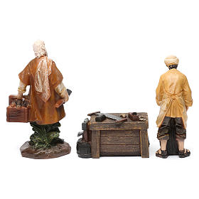 Woodworkers in resin with stand (2 pieces) for Nativity Scene 13 cm s3