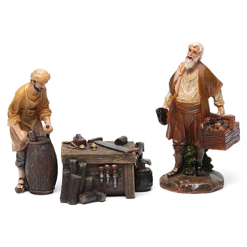 Woodworkers in resin with stand (2 pieces) for Nativity Scene 13 cm 1
