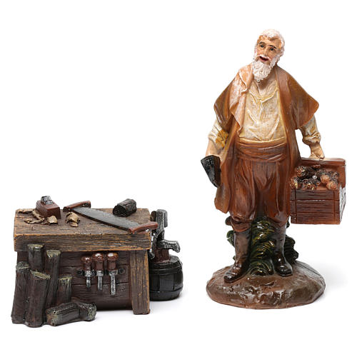 Woodworkers in resin with stand (2 pieces) for Nativity Scene 13 cm 2
