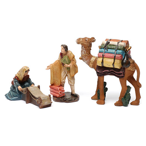 Cloth sellers in resin (2 pieces) for Nativity Scene 13 cm 1
