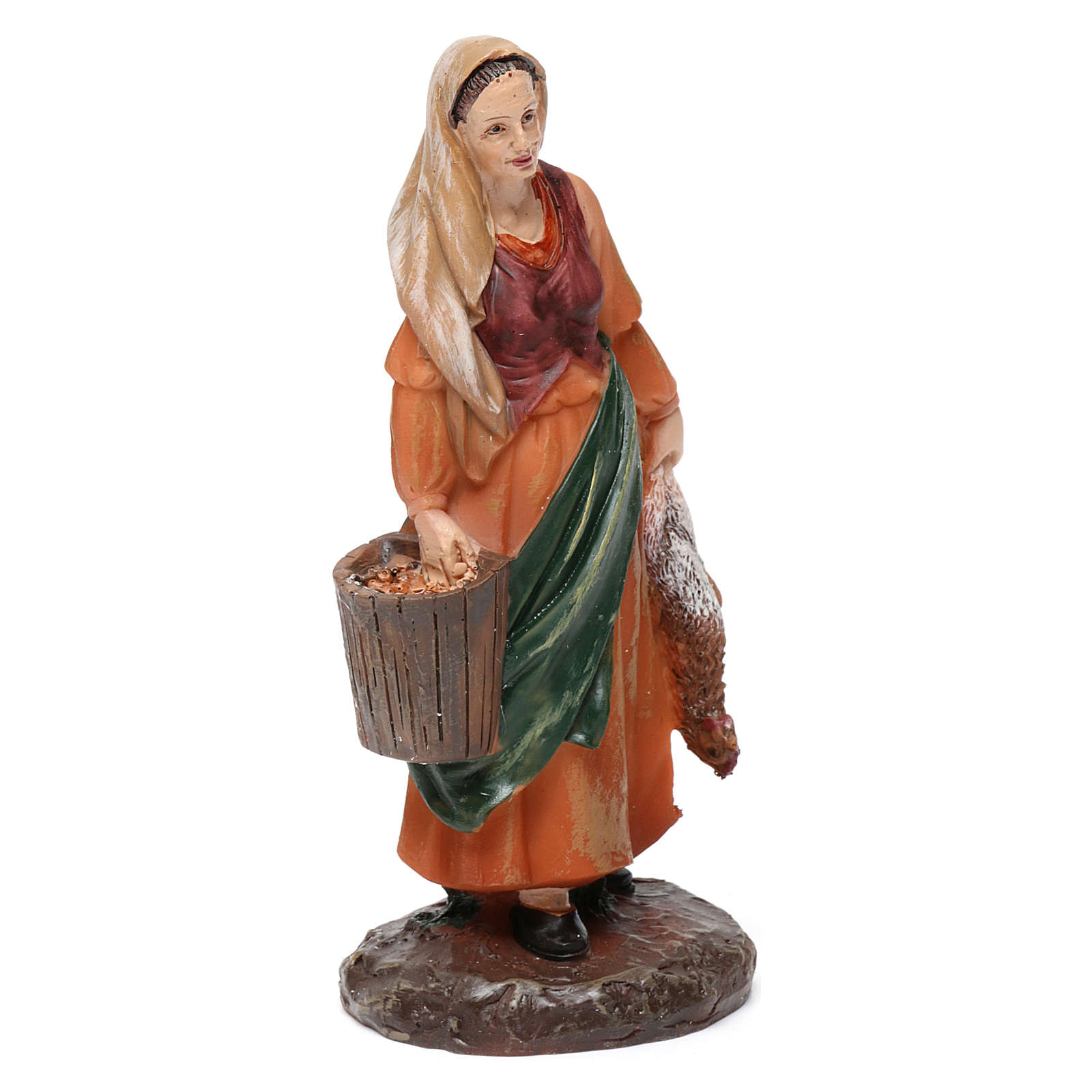 Shepherdesses in resin with animals (2 pieces) for Nativity Scene 13 cm 3