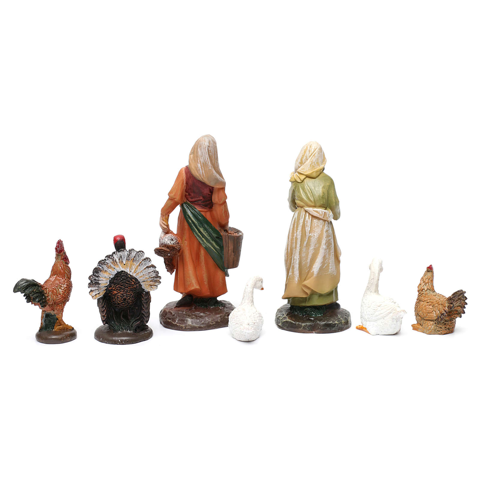 Pastoras 2 piezas con animales resina para belén de 13 cm de altura media 3