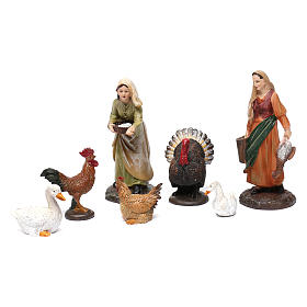 Shepherds 2 pcs with Animals Resin for 13 cm Nativity s1
