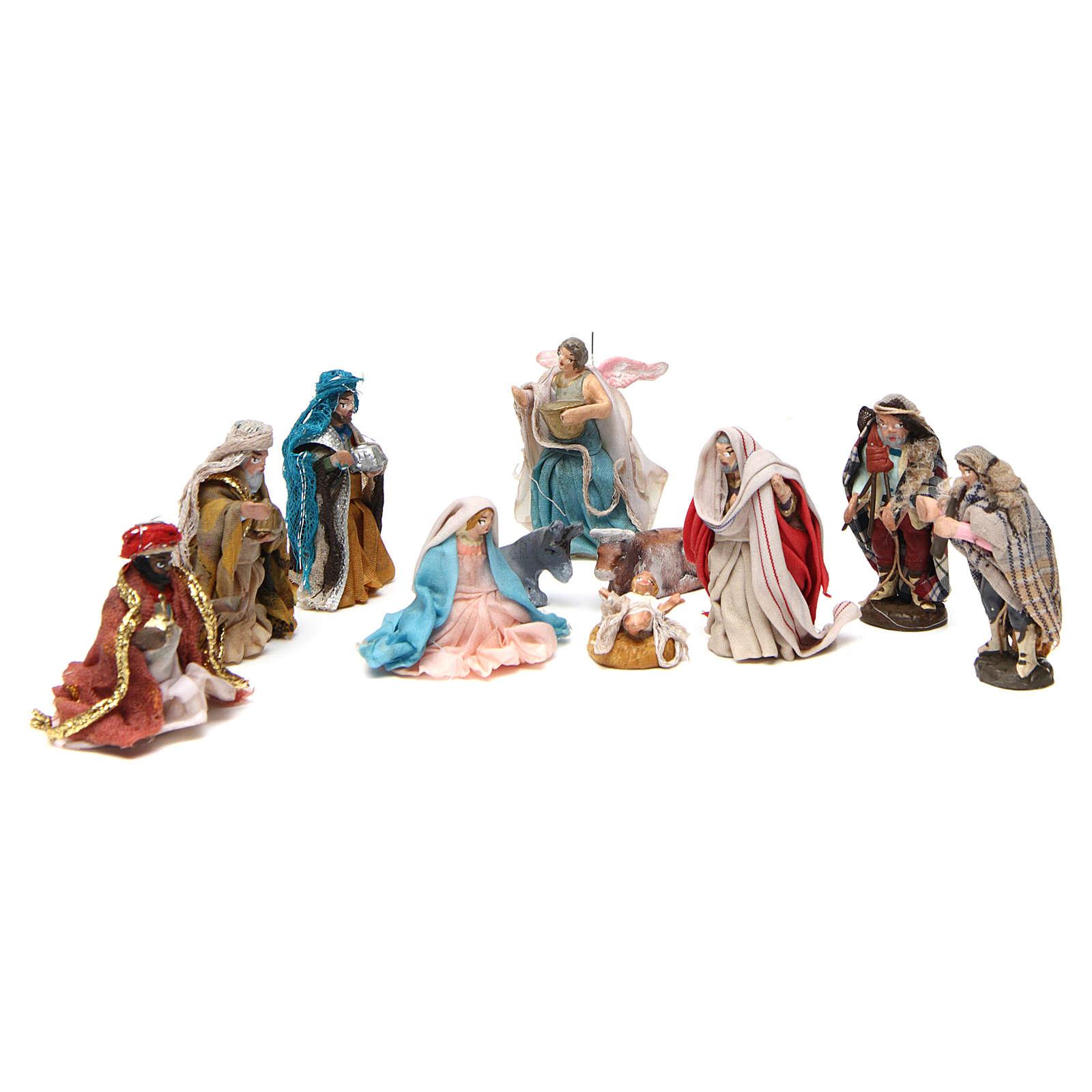 Complete Neapolitan Nativity Scene in terracotta 4 cm 11 pieces 4