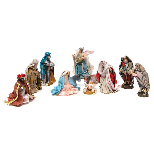 Complete Neapolitan Nativity Scene in terracotta 4 cm 11 pieces 1