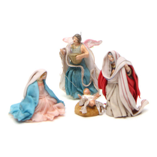 Complete Neapolitan Nativity Scene in terracotta 4 cm 11 pieces 2