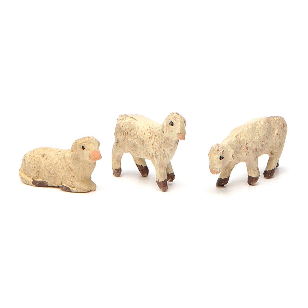 Terracotta sheep for Neapolitan Nativity Scene 4 cm 3 pieces 4