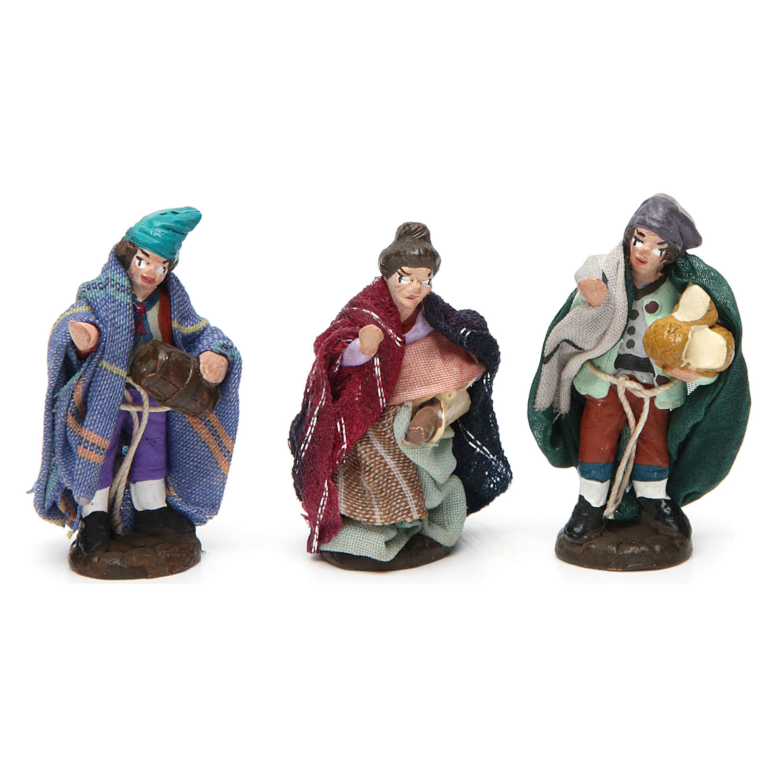 Terracotta shepherds for Neapolitan Nativity Scene 4 cm, set of 6 4