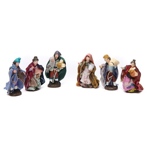 Terracotta shepherds for Neapolitan Nativity Scene 4 cm, set of 6 1