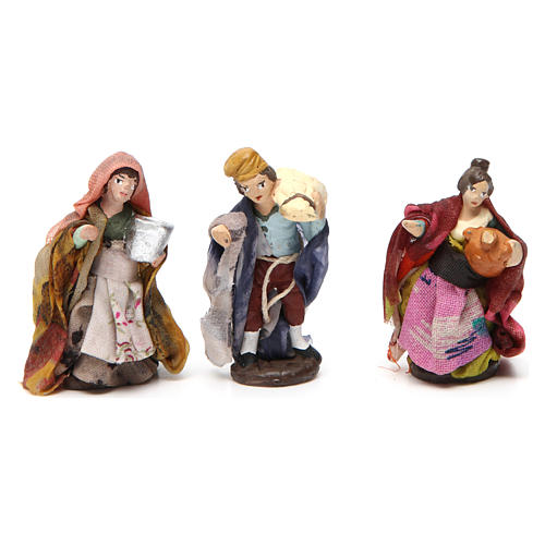 Terracotta shepherds for Neapolitan Nativity Scene 4 cm, set of 6 2