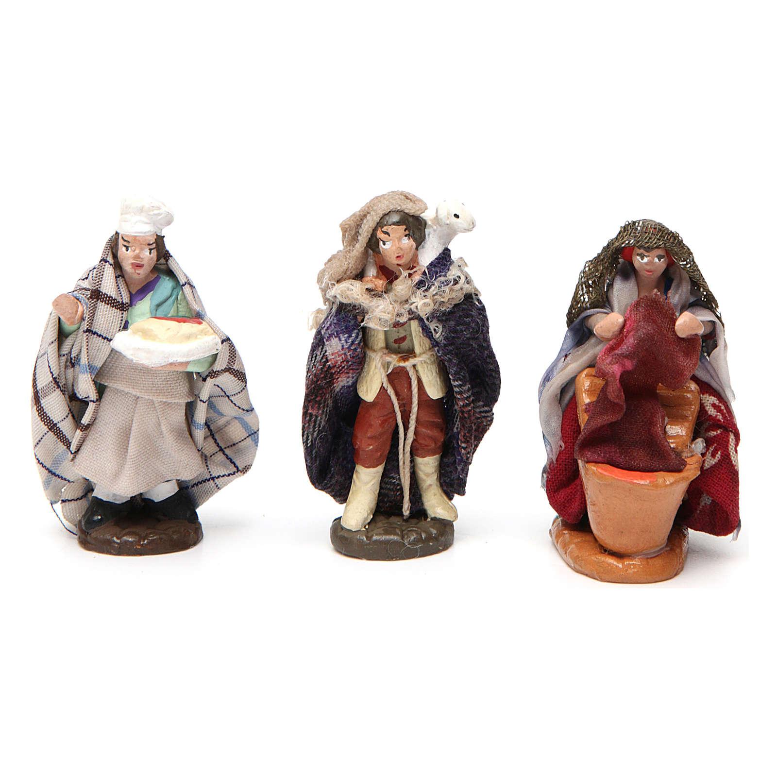 Set of 6 figurines for Neapolitan Nativity Scene in terracotta 4 cm 4