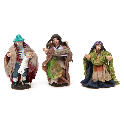 Set of 6 figurines for Neapolitan Nativity Scene in terracotta 4 cm 3
