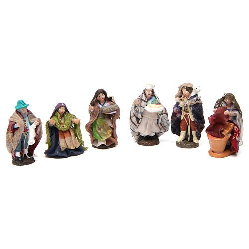Set of 6 Neapolitan Nativity Scene figurines in terracotta 4 cm 1