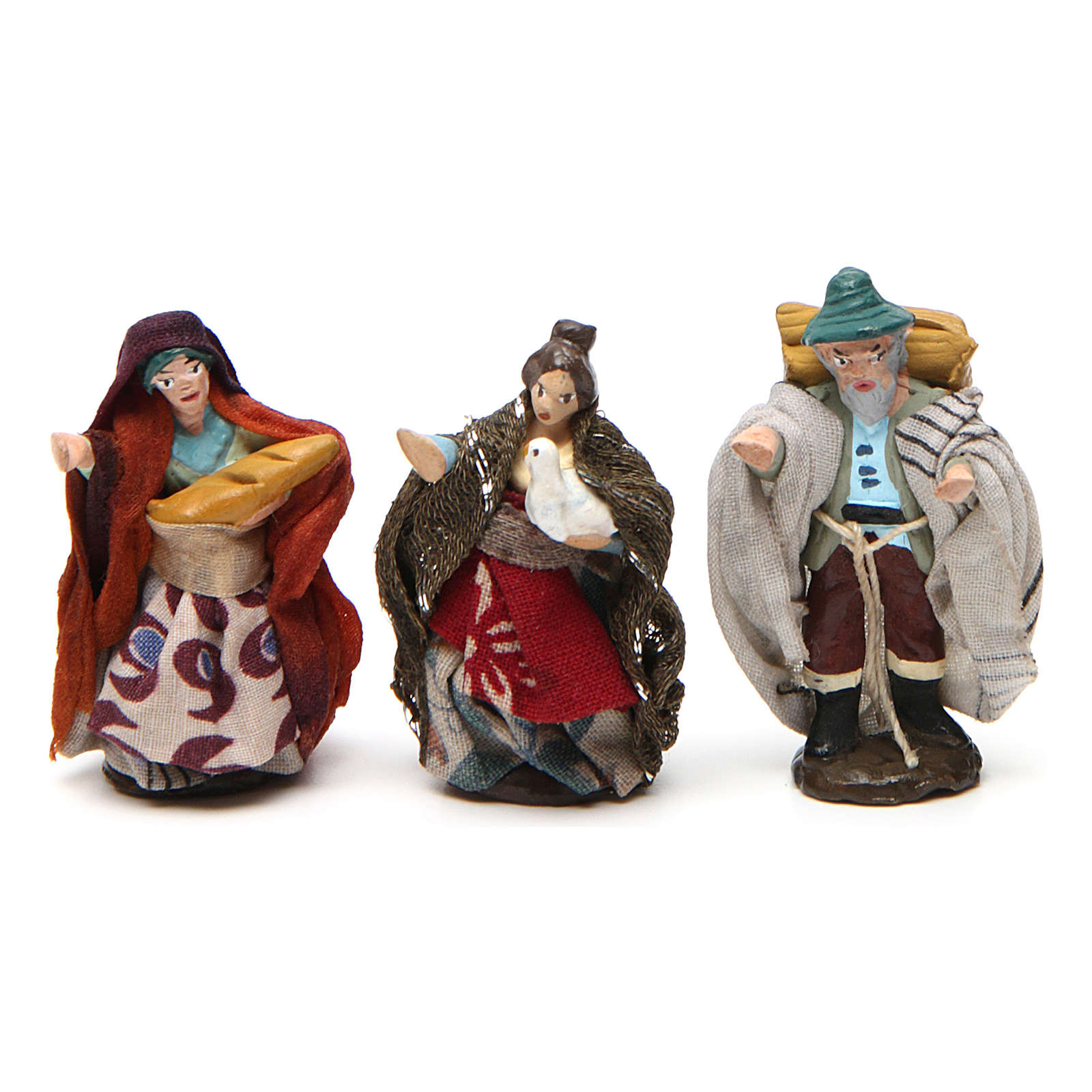 Pastores para belén napolitano de 4 cm de altura media de terracota coloreada 6 piezas 4