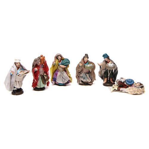 Set 6 estatuas para belén napolitano de 4 cm de altura media 1