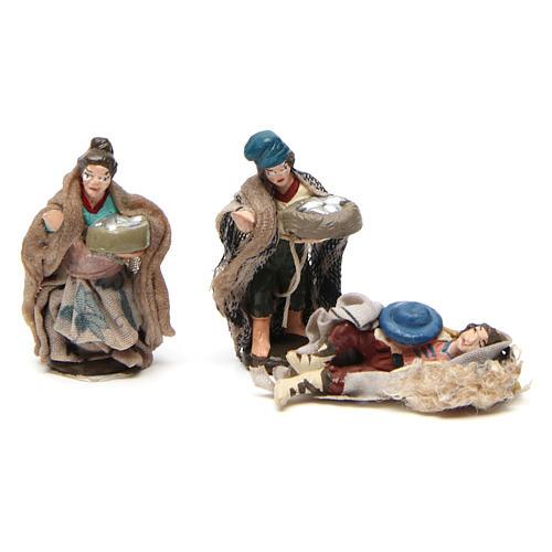 Set 6 estatuas para belén napolitano de 4 cm de altura media 2