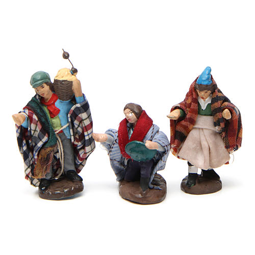 Set of shepherds for Neapolitan Nativity Scene in terracotta 4 cm 6 pieces 2