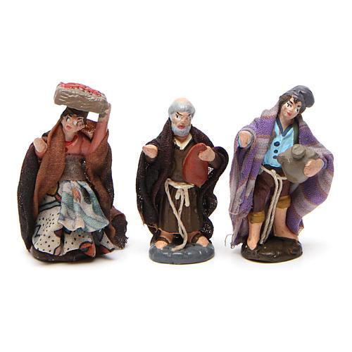 Set of shepherds for Neapolitan Nativity Scene in terracotta 4 cm 6 pieces 3