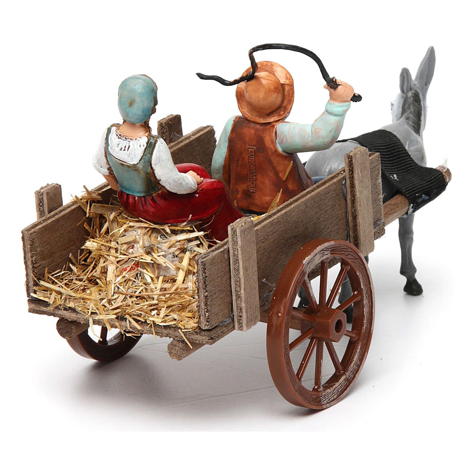 Farmers on cart 10x20x10 cm 3